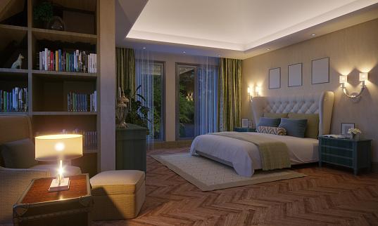 Dormitorio con focos LED